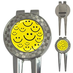 Digitally Created Yellow Happy Smile  Face Wallpaper 3 In 1 Golf Divots by BangZart