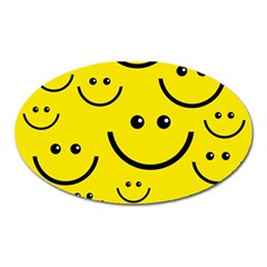 Digitally Created Yellow Happy Smile  Face Wallpaper Oval Magnet by BangZart
