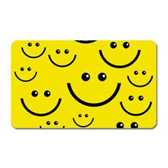 Digitally Created Yellow Happy Smile  Face Wallpaper Magnet (rectangular)