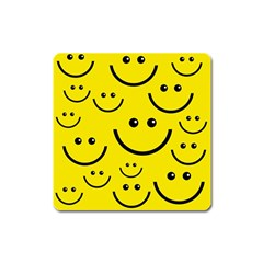 Digitally Created Yellow Happy Smile  Face Wallpaper Square Magnet