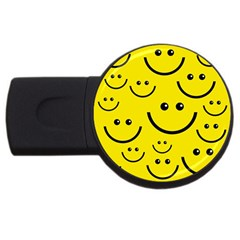 Digitally Created Yellow Happy Smile  Face Wallpaper Usb Flash Drive Round (2 Gb) by BangZart