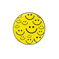 Digitally Created Yellow Happy Smile  Face Wallpaper Hat Clip Ball Marker by BangZart