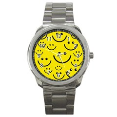 Digitally Created Yellow Happy Smile  Face Wallpaper Sport Metal Watch by BangZart