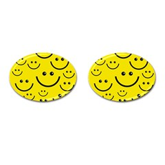 Digitally Created Yellow Happy Smile  Face Wallpaper Cufflinks (oval) by BangZart