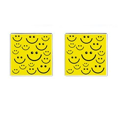 Digitally Created Yellow Happy Smile  Face Wallpaper Cufflinks (square) by BangZart