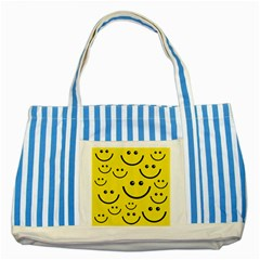 Digitally Created Yellow Happy Smile  Face Wallpaper Striped Blue Tote Bag