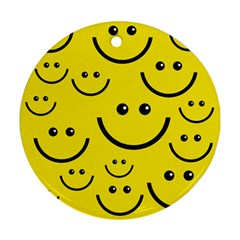 Digitally Created Yellow Happy Smile  Face Wallpaper Round Ornament (two Sides) by BangZart