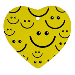 Digitally Created Yellow Happy Smile  Face Wallpaper Heart Ornament (two Sides)