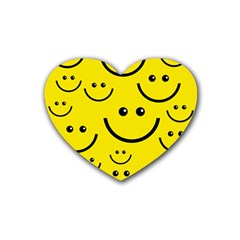 Digitally Created Yellow Happy Smile  Face Wallpaper Rubber Coaster (heart)  by BangZart