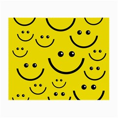 Digitally Created Yellow Happy Smile  Face Wallpaper Small Glasses Cloth (2 Side) by BangZart