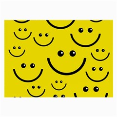 Digitally Created Yellow Happy Smile  Face Wallpaper Large Glasses Cloth (2 Side) by BangZart
