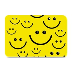 Digitally Created Yellow Happy Smile  Face Wallpaper Plate Mats