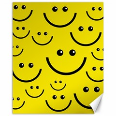 Digitally Created Yellow Happy Smile  Face Wallpaper Canvas 11  X 14