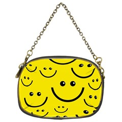 Digitally Created Yellow Happy Smile  Face Wallpaper Chain Purses (two Sides)