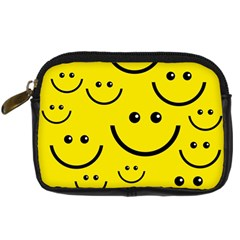Digitally Created Yellow Happy Smile  Face Wallpaper Digital Camera Cases by BangZart