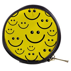 Digitally Created Yellow Happy Smile  Face Wallpaper Mini Makeup Bags by BangZart