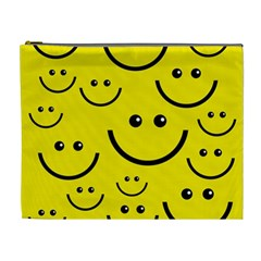 Digitally Created Yellow Happy Smile  Face Wallpaper Cosmetic Bag (xl)
