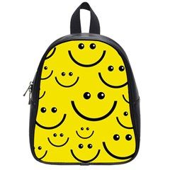 Digitally Created Yellow Happy Smile  Face Wallpaper School Bags (small)