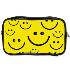 Digitally Created Yellow Happy Smile  Face Wallpaper Toiletries Bags 2 Side by BangZart