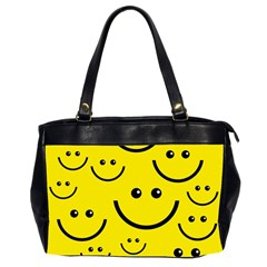 Digitally Created Yellow Happy Smile  Face Wallpaper Office Handbags (2 Sides)  by BangZart
