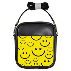 Digitally Created Yellow Happy Smile  Face Wallpaper Girls Sling Bags