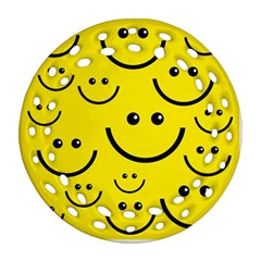 Digitally Created Yellow Happy Smile  Face Wallpaper Round Filigree Ornament (two Sides) by BangZart
