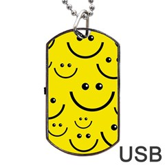 Digitally Created Yellow Happy Smile  Face Wallpaper Dog Tag Usb Flash (two Sides) by BangZart
