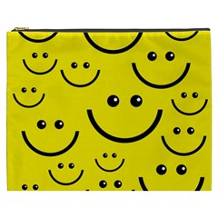 Digitally Created Yellow Happy Smile  Face Wallpaper Cosmetic Bag (xxxl)  by BangZart