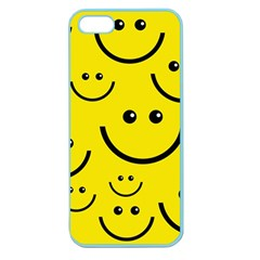 Digitally Created Yellow Happy Smile  Face Wallpaper Apple Seamless Iphone 5 Case (color)