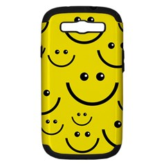 Digitally Created Yellow Happy Smile  Face Wallpaper Samsung Galaxy S Iii Hardshell Case (pc+silicone) by BangZart