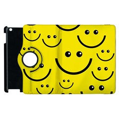 Digitally Created Yellow Happy Smile  Face Wallpaper Apple Ipad 2 Flip 360 Case by BangZart