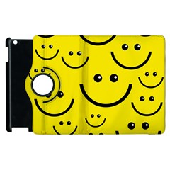 Digitally Created Yellow Happy Smile  Face Wallpaper Apple Ipad 3/4 Flip 360 Case by BangZart