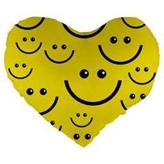 Digitally Created Yellow Happy Smile  Face Wallpaper Large 19  Premium Heart Shape Cushions by BangZart