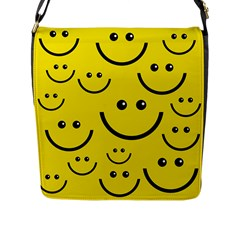 Digitally Created Yellow Happy Smile  Face Wallpaper Flap Messenger Bag (l)  by BangZart