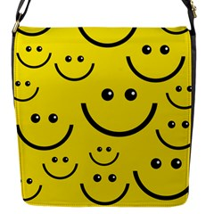 Digitally Created Yellow Happy Smile  Face Wallpaper Flap Messenger Bag (s) by BangZart