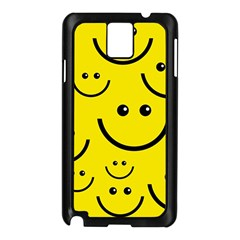 Digitally Created Yellow Happy Smile  Face Wallpaper Samsung Galaxy Note 3 N9005 Case (black) by BangZart