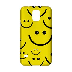 Digitally Created Yellow Happy Smile  Face Wallpaper Samsung Galaxy S5 Hardshell Case  by BangZart
