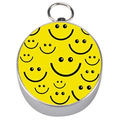Digitally Created Yellow Happy Smile  Face Wallpaper Silver Compasses by BangZart