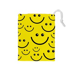 Digitally Created Yellow Happy Smile  Face Wallpaper Drawstring Pouches (medium)
