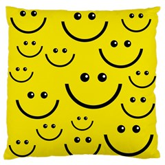 Digitally Created Yellow Happy Smile  Face Wallpaper Standard Flano Cushion Case (two Sides) by BangZart