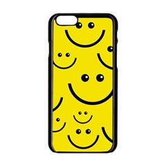 Digitally Created Yellow Happy Smile  Face Wallpaper Apple Iphone 6/6s Black Enamel Case by BangZart