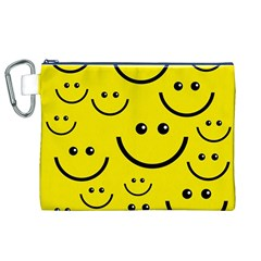 Digitally Created Yellow Happy Smile  Face Wallpaper Canvas Cosmetic Bag (xl) by BangZart