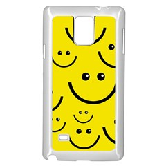 Digitally Created Yellow Happy Smile  Face Wallpaper Samsung Galaxy Note 4 Case (white)