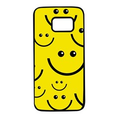 Digitally Created Yellow Happy Smile  Face Wallpaper Samsung Galaxy S7 Black Seamless Case