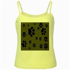 Dog Foodprint Paw Prints Seamless Background And Pattern Yellow Spaghetti Tank