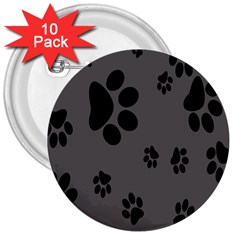 Dog Foodprint Paw Prints Seamless Background And Pattern 3  Buttons (10 Pack)