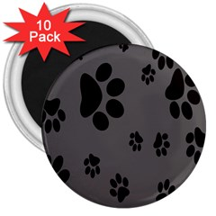 Dog Foodprint Paw Prints Seamless Background And Pattern 3  Magnets (10 Pack)  by BangZart