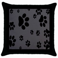 Dog Foodprint Paw Prints Seamless Background And Pattern Throw Pillow Case (black) by BangZart