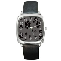 Dog Foodprint Paw Prints Seamless Background And Pattern Square Metal Watch by BangZart