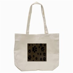 Dog Foodprint Paw Prints Seamless Background And Pattern Tote Bag (cream) by BangZart